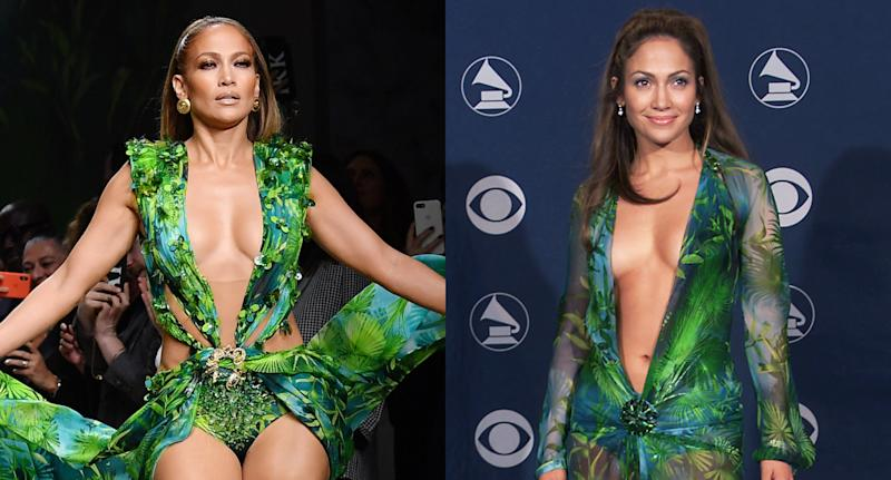 Jennifer Lopez revive vestido icônico do Grammy 2000 em desfile (Foto: Getty Images)