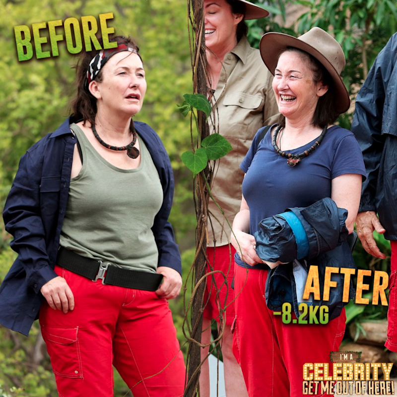 In the most drastic weight loss transformation of the female campmates, Fiona O'Loughlin lost a staggering 8.2kg. Source: Ten