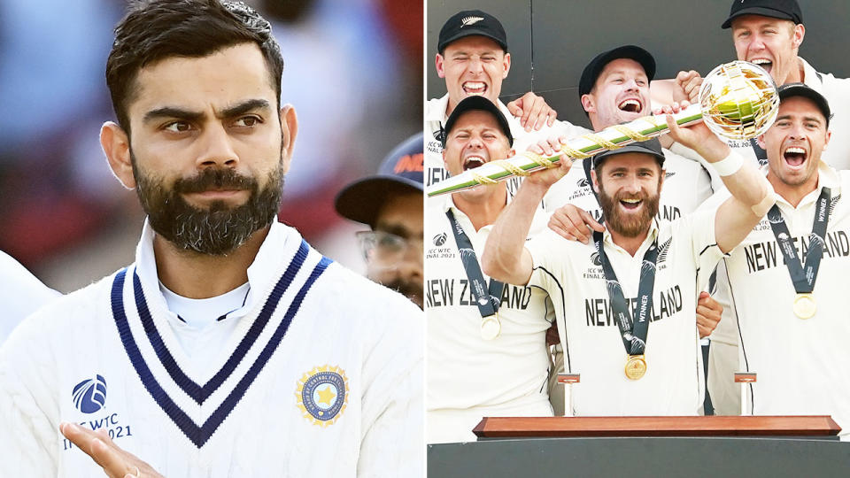 Virat Kohli, pictured here as the New Zealanders celebrate victory in the World Test Championship final.