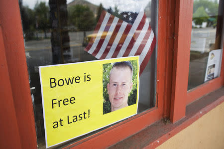 A sign of support of Army Sergeant Bowe Bergdahl is seen in Hailey, Idaho