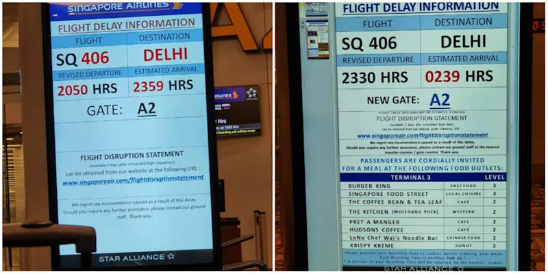 Singapore Airlines flight delay notices. Photos: Deep Roy/Facebook
