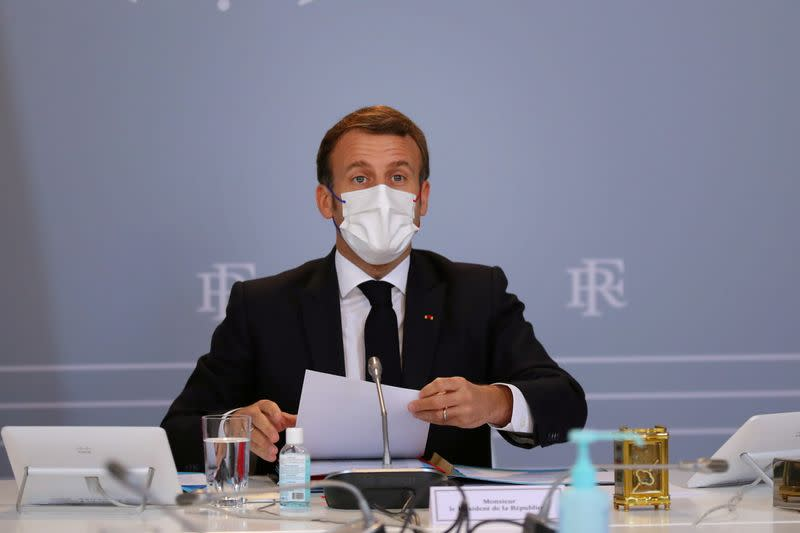 France's President Macron attends a defence council in Paris