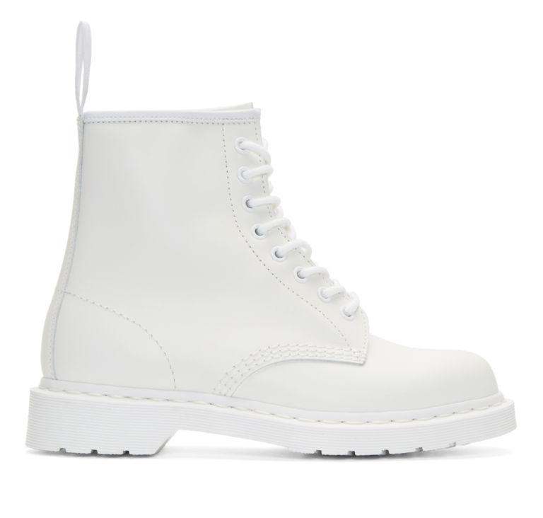 """<p>Combat boots are a grunge classic, but in bright white leather they look equal parts 1997 <em>and </em>2017. Lean into the '90s nostalgia with a floral mini dress, or keep it current with ankle-length, frayed jeans. <span></span></p><p><span>1460 Mono, $135, <a rel=""""nofollow"""" href=""""http://www.drmartens.com/us/p/originals-boots-smooth-1460-mono""""><u>drmartens.com</u></a>. <span></span><br></span></p>"""