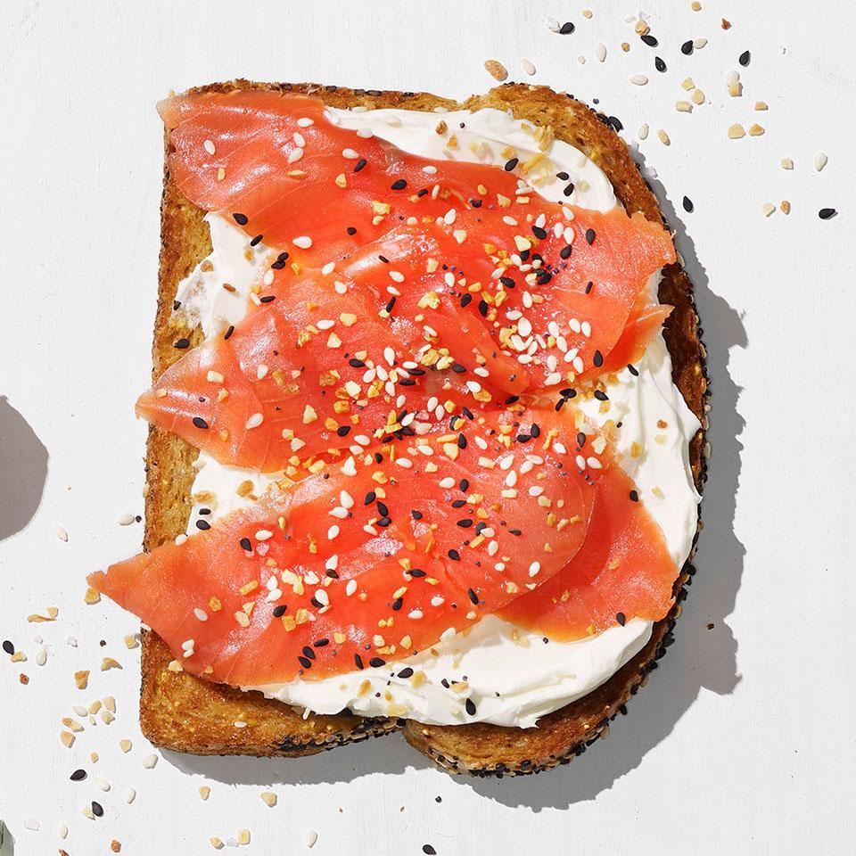 <p>Top your favorite whole-grain toast with cream cheese, smoked salmon and everything bagel seasoning for a healthy breakfast that's ready in minutes.</p>