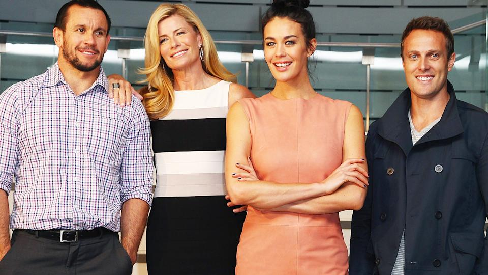 Matty Johns, Deborah Hutton, Megan Gale and Matt Shirvington, pictured here during a media call for the ASTRA Awards Finalists in 2013.