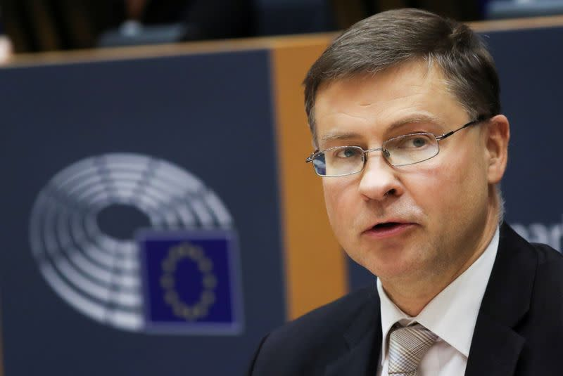 European Commission Vice President Dombrovskis attends his hearing, in Brussels