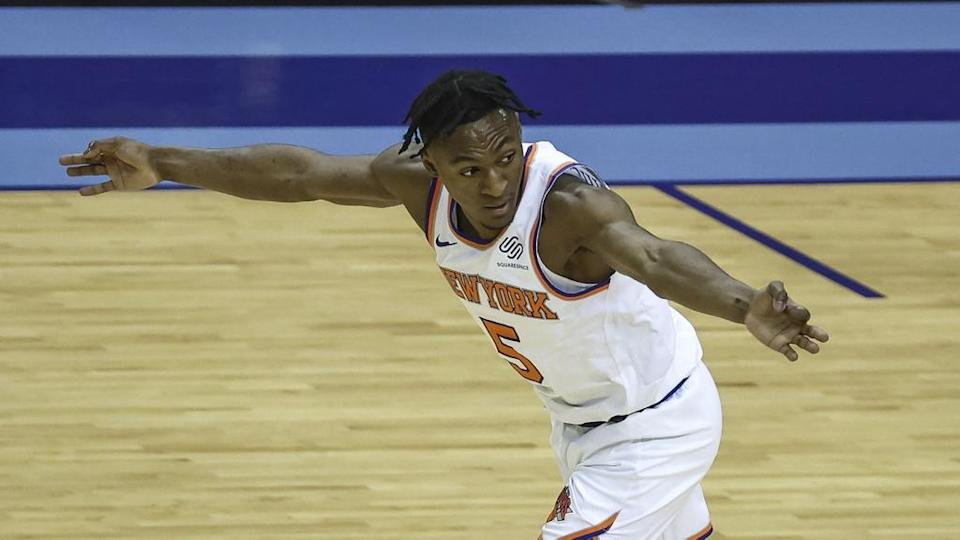 May 2, 2021; Houston, Texas, USA; New York Knicks guard Immanuel Quickley (5) reacts after making a basket during the fourth quarter against the Houston Rockets at Toyota Center. Mandatory Credit: Troy Taormina-USA TODAY Sports