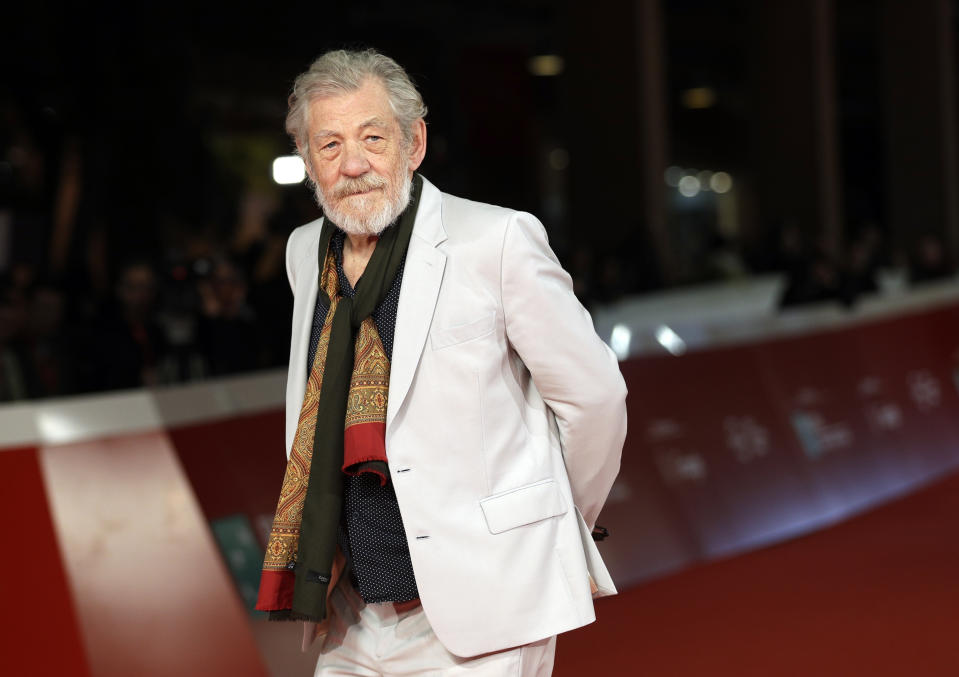 """FILE - In this Nov. 1, 2017 file photo, actor Ian McKellen poses on the red carpet at the 12th edition of the Rome Film Fest, in Rome. McKellen is starring as King Lear in a London production that begins a four-month run in July. McKellen is getting a career and life retrospective through a new documentary called """"McKellen: Playing The Part."""" (AP Photo/Andrew Medichini, File)"""