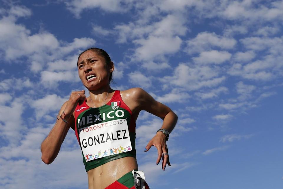 Mexico's Maria Gonzalez competes during a 20-kilometer racewalk at the 2015 Pan Am Games in Toronto.
