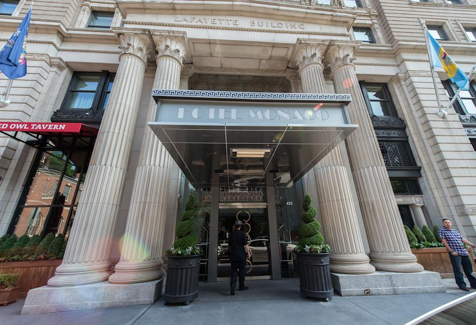 PHILADELPHIA, PA - JULY 11:  General view of the exterior of Hotel Monaco where 'Glee' star Becca Tobin's boyfriend Matt Bendik was found dead July 11, 2014 in Philadelphia, Pennsylvania.  Bendik was found dead by a maid Thursday afternoon, July 10.  (Photo by Gilbert Carrasquillo/Getty Images)