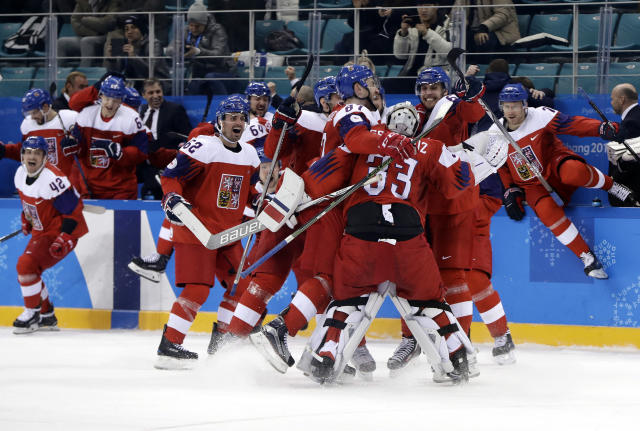 <p>the Czech Republic players celebrate after the quarterfinal round of the men's hockey game against the United States at the 2018 Winter Olympics in Gangneung, South Korea, Wednesday, Feb. 21, 2018. The Czech Republic won 3-2. (AP Photo/Matt Slocum) </p>