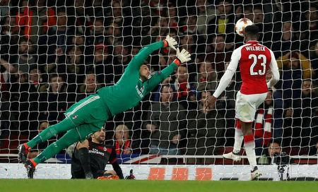 Soccer Football - Europa League Round of 16 Second Leg - Arsenal vs AC Milan - Emirates Stadium, London, Britain - March 15, 2018 Arsenal's Danny Welbeck scores their third goal Action Images via Reuters/John Sibley