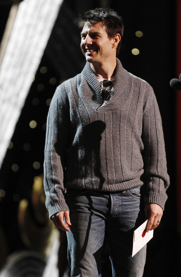 Actor Tom Cruise rehearses for the 84th Academy Awards show on Friday, Feb 24, 2012 in Los Angeles. The Academy Awards will be held on Sunday. (AP Photo/Chris Carlson)