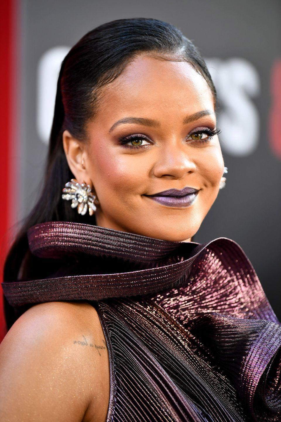 <p>Follow Rihanna's example and use lots of gel but also a diagonal parting to get an on-trend wet-look finish to your hair, while still adding volume to your crown. </p>