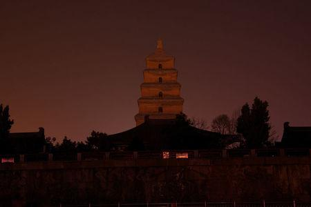 Dayan Pagoda is seen during Earth Hour in Xi'an, Shaanxi province, China, March 25, 2017. Picture taken March 25, 2017. REUTERS/Stringer