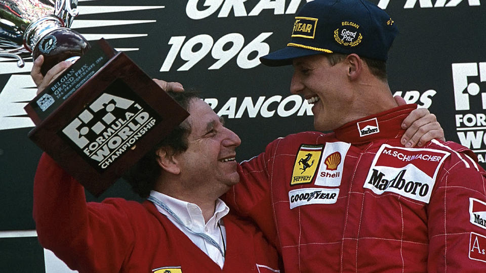 Ferrari boss Jean Todt and Michael Schumacher in 1996. (Photo by Paul-Henri Cahier/Getty Images)