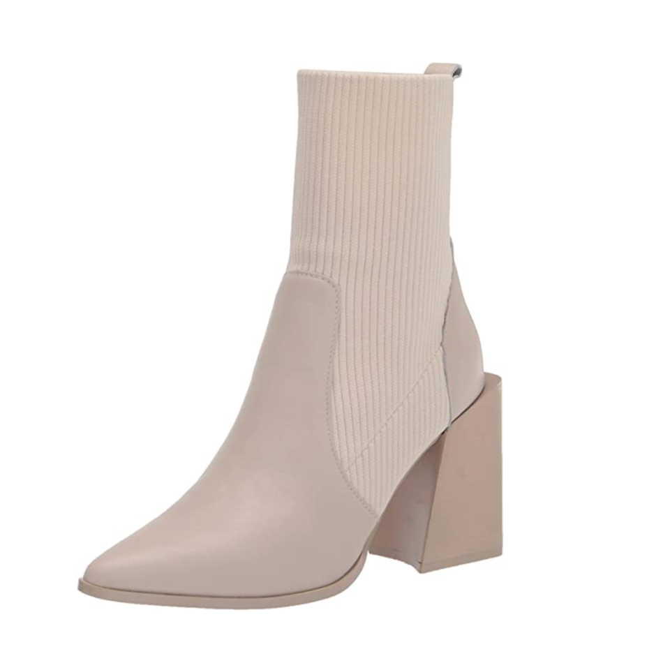"""The sock-boot trend <a href=""""https://www.glamour.com/gallery/sock-boots-under-100-dollars?mbid=synd_yahoo_rss"""" rel=""""nofollow noopener"""" target=""""_blank"""" data-ylk=""""slk:still isn't over"""" class=""""link rapid-noclick-resp"""">still isn't over</a>, and this block-heeled pair is too good to pass up. Just <em>look</em> at that architectural design and muted tone, which make it looks way more expensive than it actually it. $129, Amazon. <a href=""""https://www.amazon.com/Steve-Madden-Womens-Tackle-Leather/dp/B08K3B5VCV"""" rel=""""nofollow noopener"""" target=""""_blank"""" data-ylk=""""slk:Get it now!"""" class=""""link rapid-noclick-resp"""">Get it now!</a>"""