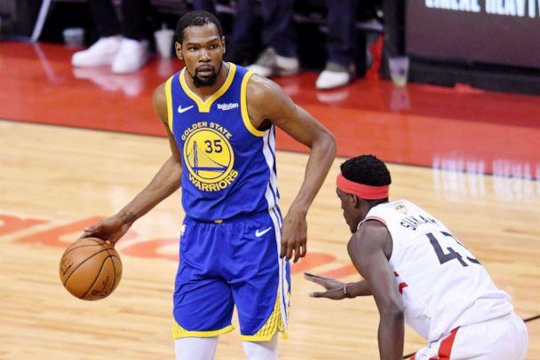 PHOTO: Golden State Warriors forward Kevin Durant (35) dribbles in front of Toronto Raptors forward Pascal Siakam (43) during the second quarter in game five of the 2019 NBA Finals at Scotiabank Arena, June 10, 2019, in Toronto. (Nick Turchiaro/USA TODAY Sports)