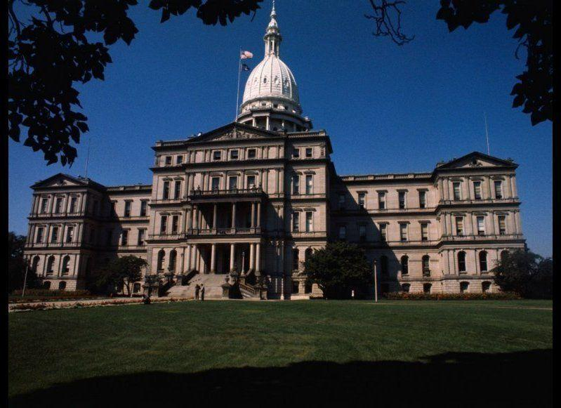 <strong>MICHIGAN STATE HOUSE</strong> Lansing, Michigan <strong>Year completed:</strong> 1879 <strong>Architectural style:</strong> Neo-Classical <strong>FYI:</strong> Don't let the faux marble pillars and walnut wainscoting trick your eyes—decorative painting techniques cover up the fact that the capitol building was made with more inexpensive materials, such as cast iron and pine. <strong>Visit:</strong> Guided tours are offered Monday through Friday, from 9 a.m. to 4 p.m. Tour times vary.
