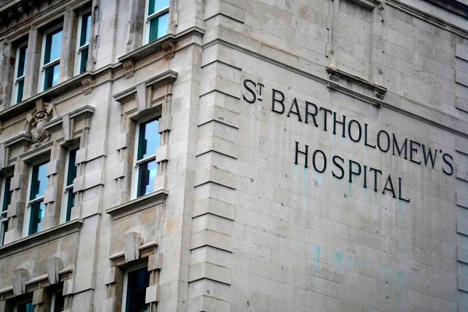 St Bartholomew's Hospital, commonly known as St Barts, is pictured in central London on March 3, 2021 where Prince Philip, Duke of Edinburgh was transferred to on March 1. (Photo: Getty Images)