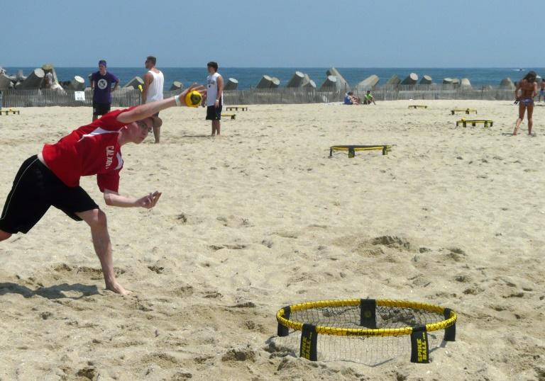 In Spikeball the angle the ball hits the net and coordination with your teammate are more important than speed or strength, players say