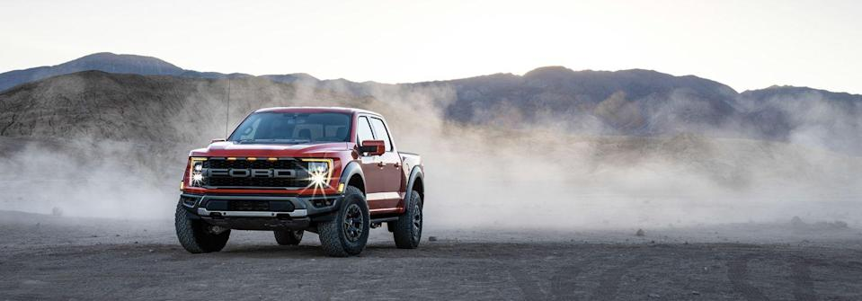 "<p>The <a href=""https://www.caranddriver.com/ford/f-150-raptor"" rel=""nofollow noopener"" target=""_blank"" data-ylk=""slk:2021 Ford F-150 Raptor"" class=""link rapid-noclick-resp"">2021 Ford F-150 Raptor</a> aims to fly higher, pound across the desert faster, and look meaner than its predecessor. This all-new, third-generation Raptor remains a bulkier body double of the <a href=""https://www.caranddriver.com/ford/f-150"" rel=""nofollow noopener"" target=""_blank"" data-ylk=""slk:regular F-150"" class=""link rapid-noclick-resp"">regular F-150</a>, which means they share technology and several innovative features. However, <a href=""https://www.caranddriver.com/ford"" rel=""nofollow noopener"" target=""_blank"" data-ylk=""slk:Ford's"" class=""link rapid-noclick-resp"">Ford's</a> high-performance pickup truck is also <a href=""https://www.caranddriver.com/news/g35399729/2021-ford-f-150-raptor-off-road-equipment-explained/"" rel=""nofollow noopener"" target=""_blank"" data-ylk=""slk:fitted with impressive off-road equipment"" class=""link rapid-noclick-resp"">fitted with impressive off-road equipment</a>, such as a sophisticated long-travel suspension and available 37-inch all-terrain tires. Assisting the Raptor's powerful twin-turbo V-6 is a paddle-shifted 10-speed automatic transmission and standard all-wheel drive. Though its engine should produce at least 450 horsepower, that's still relatively wimpy compared with the <a href=""https://www.caranddriver.com/ram/1500-trx"" rel=""nofollow noopener"" target=""_blank"" data-ylk=""slk:702-hp Hellcat V-8 in the Ram 1500 TRX"" class=""link rapid-noclick-resp"">702-hp Hellcat V-8 in the Ram 1500 TRX</a>. That's why Ford is developing an <a href=""https://www.caranddriver.com/news/a35394861/ford-f-150-raptor-r-confirmed/"" rel=""nofollow noopener"" target=""_blank"" data-ylk=""slk:even more ferocious Raptor R"" class=""link rapid-noclick-resp"">even more ferocious Raptor R</a> that should mark the return of a raucous V-8 engine that earns it entry into the 700-hp club.</p><p><a class=""link rapid-noclick-resp"" href=""https://www.caranddriver.com/ford/f-150-raptor"" rel=""nofollow noopener"" target=""_blank"" data-ylk=""slk:Review, Pricing, and Specs"">Review, Pricing, and Specs</a></p>"