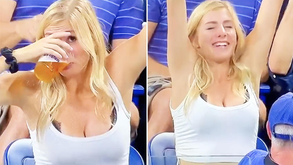 The US Open fan, pictured here downing a beer in the stands.