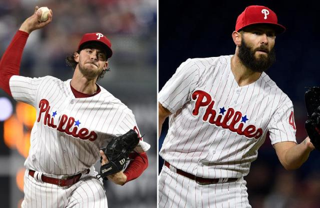 Aaron Nola (left) and Jake Arrieta have given the Phillies a dynamic duo atop their starting rotation. (AP)