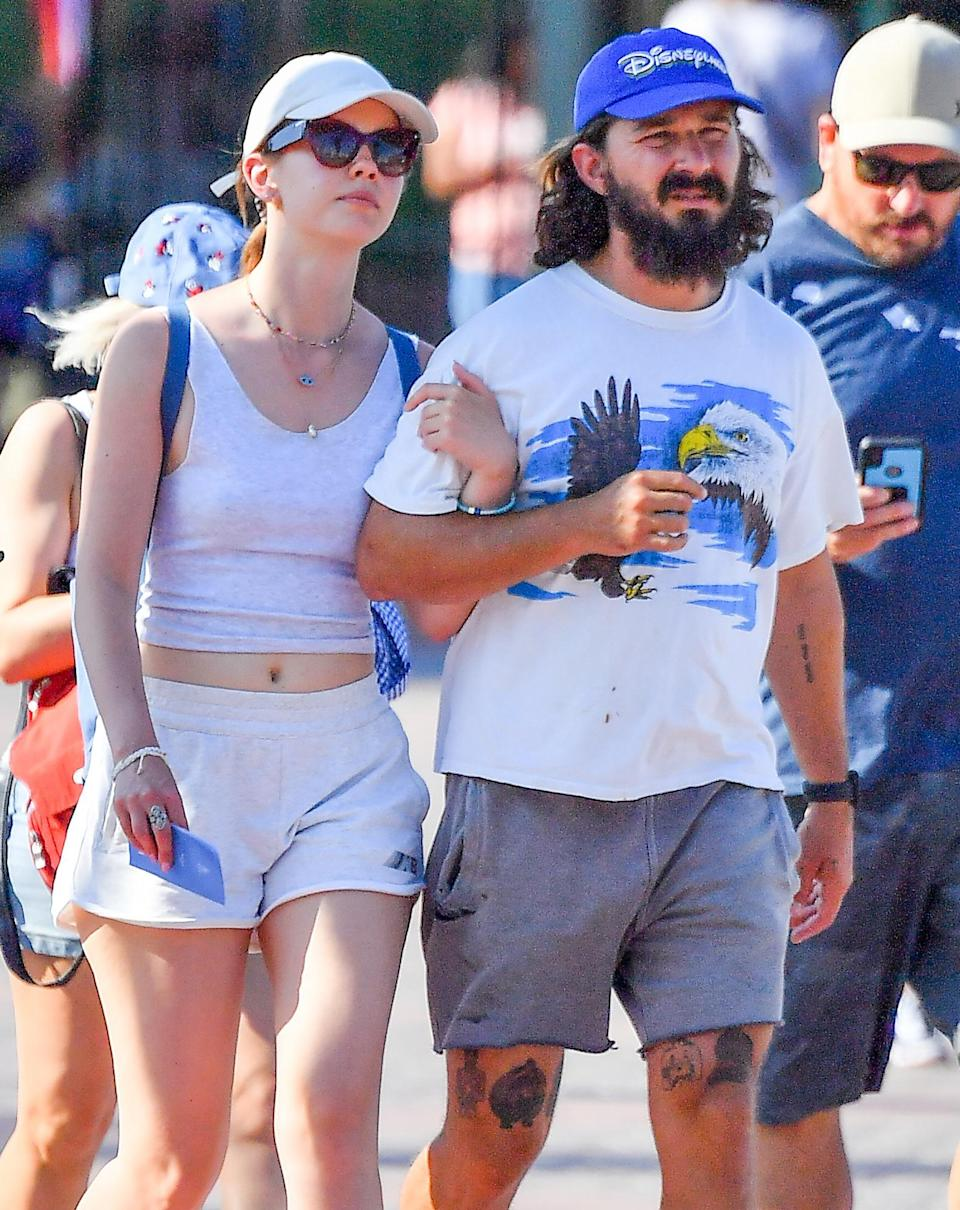 <p>Shia LaBeouf and Mia Goth cozy up together at Disneyland on June 21.</p>