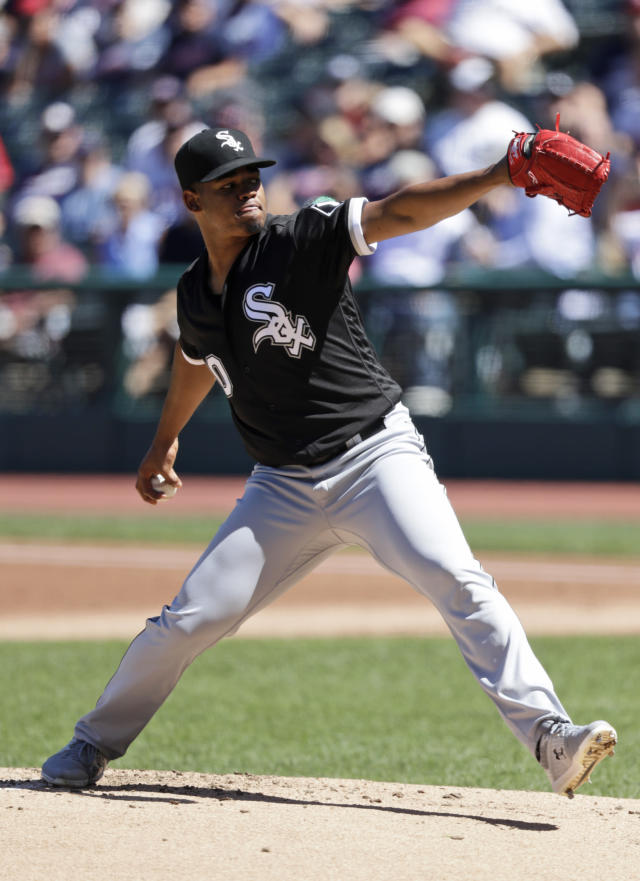 Chicago White Sox starting pitcher Reynaldo Lopez delivers in the first inning of a baseball game against the Cleveland Indians, Thursday, Sept. 5, 2019, in Cleveland. (AP Photo/Tony Dejak)