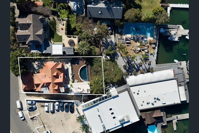 Aerial view of Mia Freedman's Point Piper home