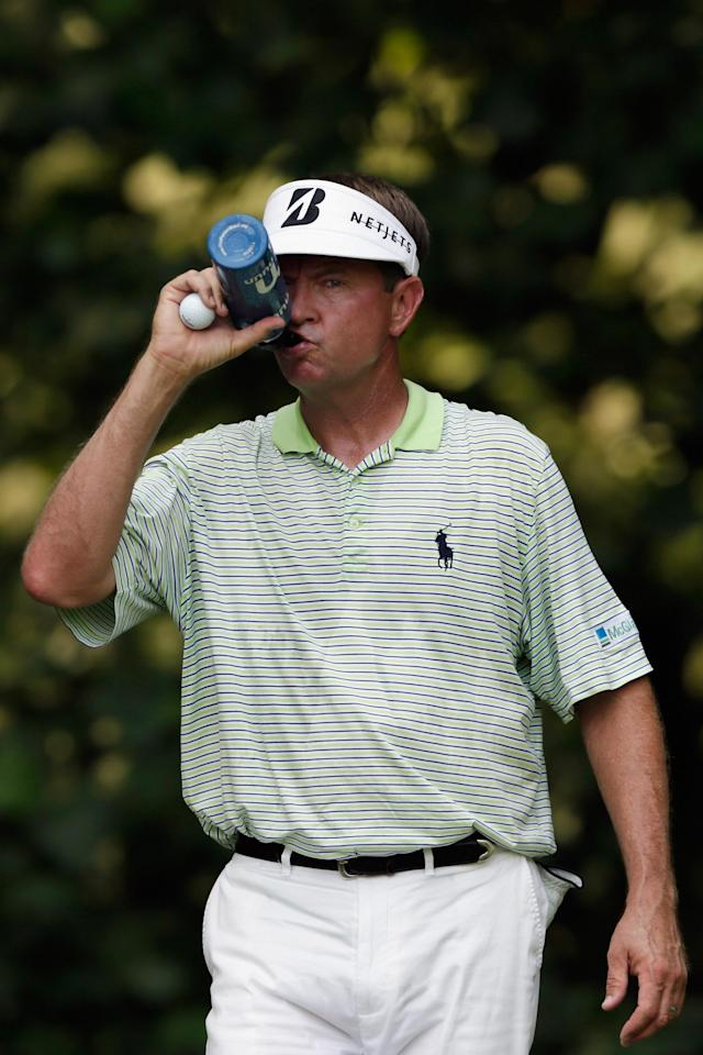 BETHESDA, MD - JUNE 29: Davis Love III gets a drink before teeing off on the 14th hole during Round Two of the AT&T National at Congressional Country Club on June 29, 2012 in Bethesda, Maryland. (Photo by Rob Carr/Getty Images)