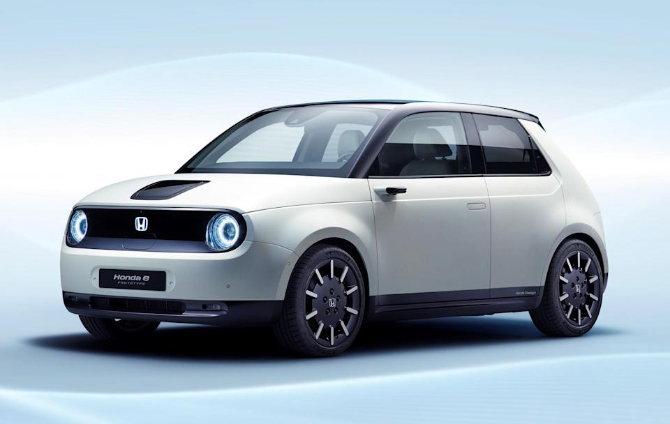 The Honda E Prototype, a small hatchback with styling reminiscent of a 1970s Honda Civic.