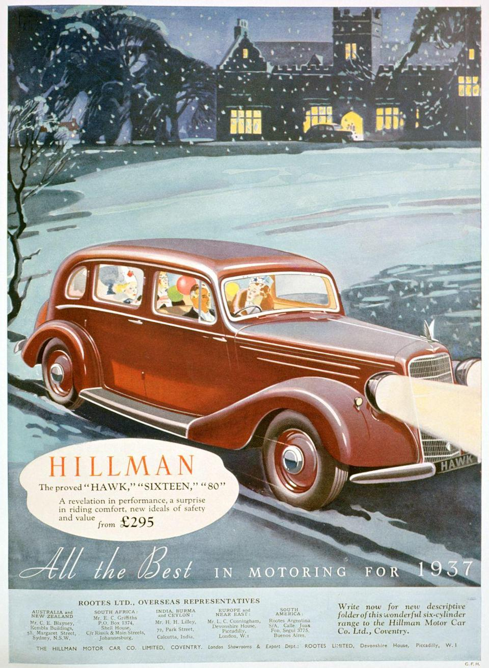 <p>In this holiday ad for Hillman, a British motor car company, the brand new 1937 model is shown rolling out of a scenic countryside estate. Prices started at £295 - which translates to roughly $8,285 in 2020.</p>