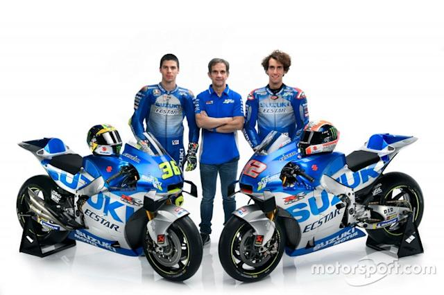 "Joan Mir, Alex Rins, Team Suzuki MotoGP and Davide Brivio, Team manager Team Suzuki MotoGP <span class=""copyright"">Suzuki MotoGP</span>"