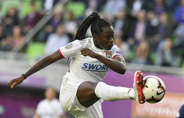 Griedge M'Bock Bathy of Lyon in action during the women's soccer UEFA Champions League final match between Olympique Lyon and FC Barcelona at the Groupama Arena in Budapest, Hungary, Saturday, May 18, 2019. (Tibor Illyes/MTI via AP)