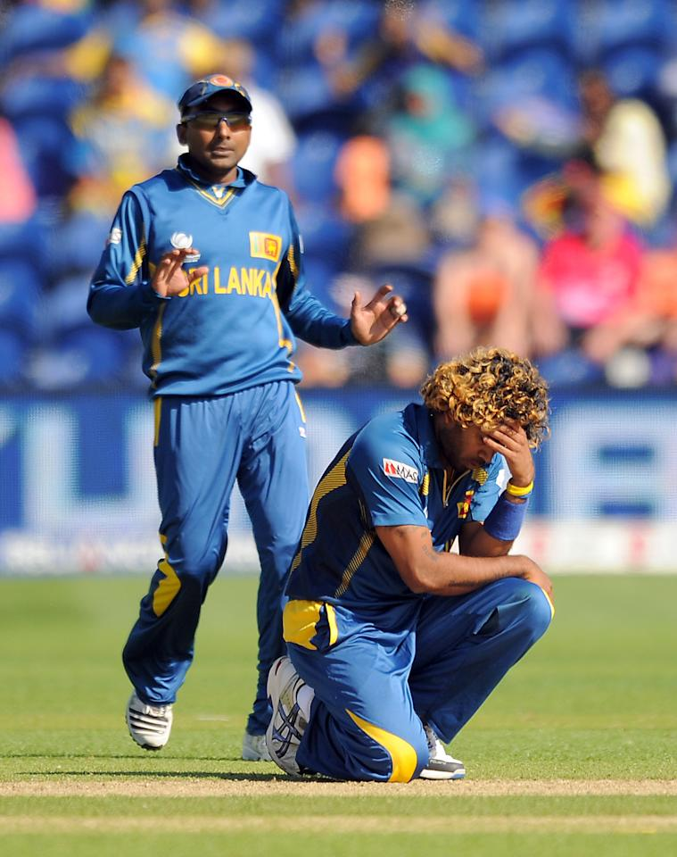 Sri Lanka's Lasith Malinga rues a missed chance during the ICC Champions Trophy match at the SWALEC Stadium, Cardiff.