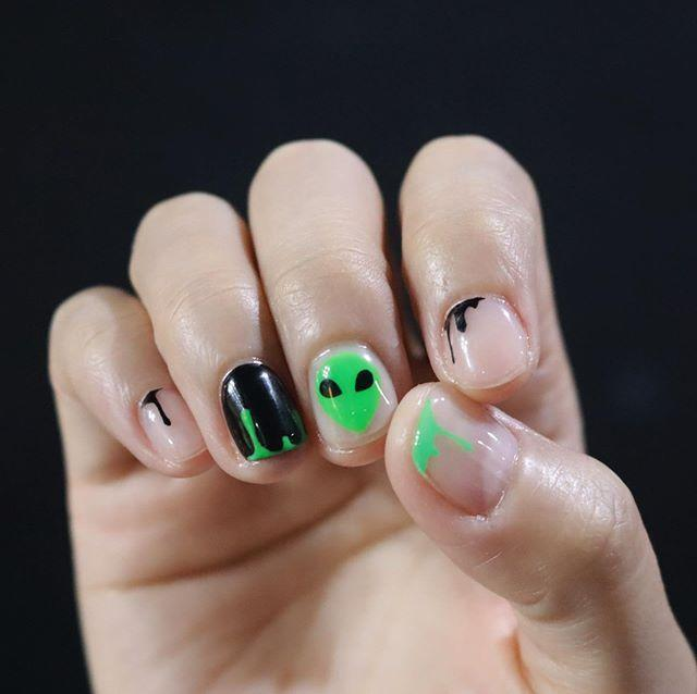 "<p>If you're into the alien theme but don't' want to go *too* deep. draw a martian on one of your fingers and then have the rest accented with green or black slime. </p><p><a href=""https://www.instagram.com/p/B3vjUfslRXe/?utm_source=ig_embed&utm_campaign=loading"" rel=""nofollow noopener"" target=""_blank"" data-ylk=""slk:See the original post on Instagram"" class=""link rapid-noclick-resp"">See the original post on Instagram</a></p>"