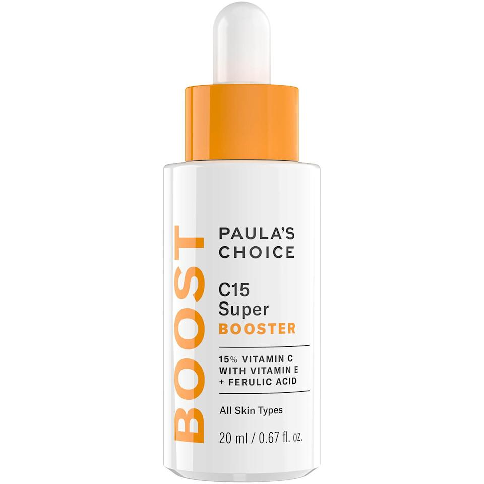 """<p>We love a good <a href=""""http://www.allure.com/gallery/best-beauty-boosters-for-every-skin-type?mbid=synd_yahoo_rss"""" rel=""""nofollow noopener"""" target=""""_blank"""" data-ylk=""""slk:skin-care booster"""" class=""""link rapid-noclick-resp"""">skin-care booster</a>, but we especially love them when they're spiked with vitamin C. Made with a whopping 15 percent of pure vitamin C, just a drop or two of Paula's Choice Resist C15 Super Booster added to your daily moisturizer is bound to brighten, tighten, and smooth skin.</p> <p><strong>$49</strong> (<a href=""""https://paulachoiceusca.l3km.net/Aebgj"""" rel=""""nofollow noopener"""" target=""""_blank"""" data-ylk=""""slk:Shop Now"""" class=""""link rapid-noclick-resp"""">Shop Now</a>)</p>"""