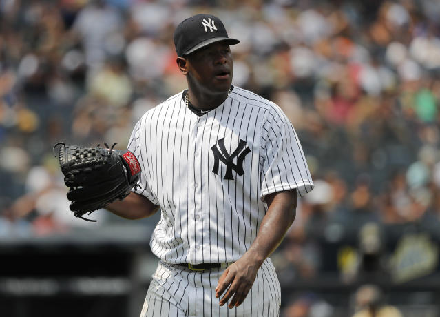 New York Yankees starting pitcher Luis Severino leaves the baseball game against the Kansas City Royals during the fifth inning, Saturday, July 28, 2018, in New York. (AP Photo/Julie Jacobson)