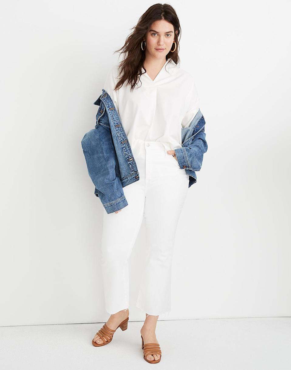"""<br> <br> <strong>Madewell</strong> Cali Demi-Boot Jeans With Raw-Hem, $, available at <a href=""""https://go.skimresources.com/?id=30283X879131&url=https%3A%2F%2Fwww.madewell.com%2Fcali-demi-boot-jeans-in-pure-white-AJ195.html%3Fcolor%3DWT8315%23q%3Dwhite%252Bjeans%26lang%3Ddefault%26start%3D2"""" rel=""""nofollow noopener"""" target=""""_blank"""" data-ylk=""""slk:Madewell"""" class=""""link rapid-noclick-resp"""">Madewell</a>"""