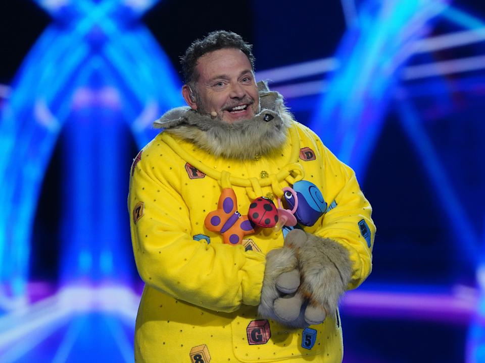 John Thomson after being revealed as Bush Baby during the last episode of The Masked Singer (ITV)
