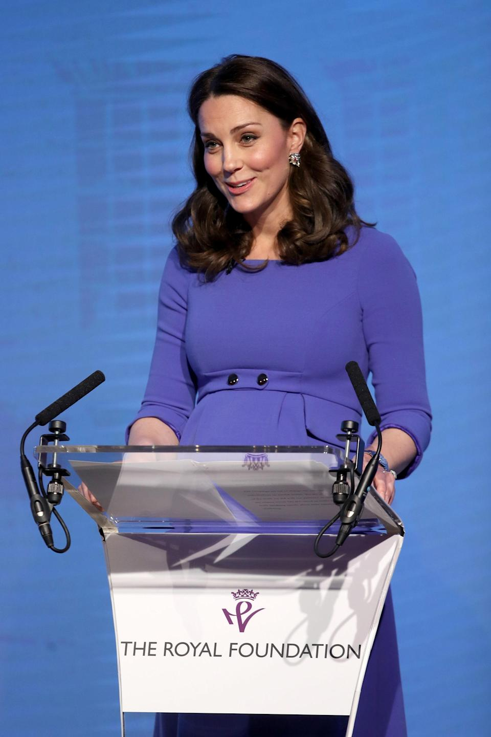 The Duchess of Cambridge delivers a speech during the first Royal Foundation Forum in central London in February (PA)