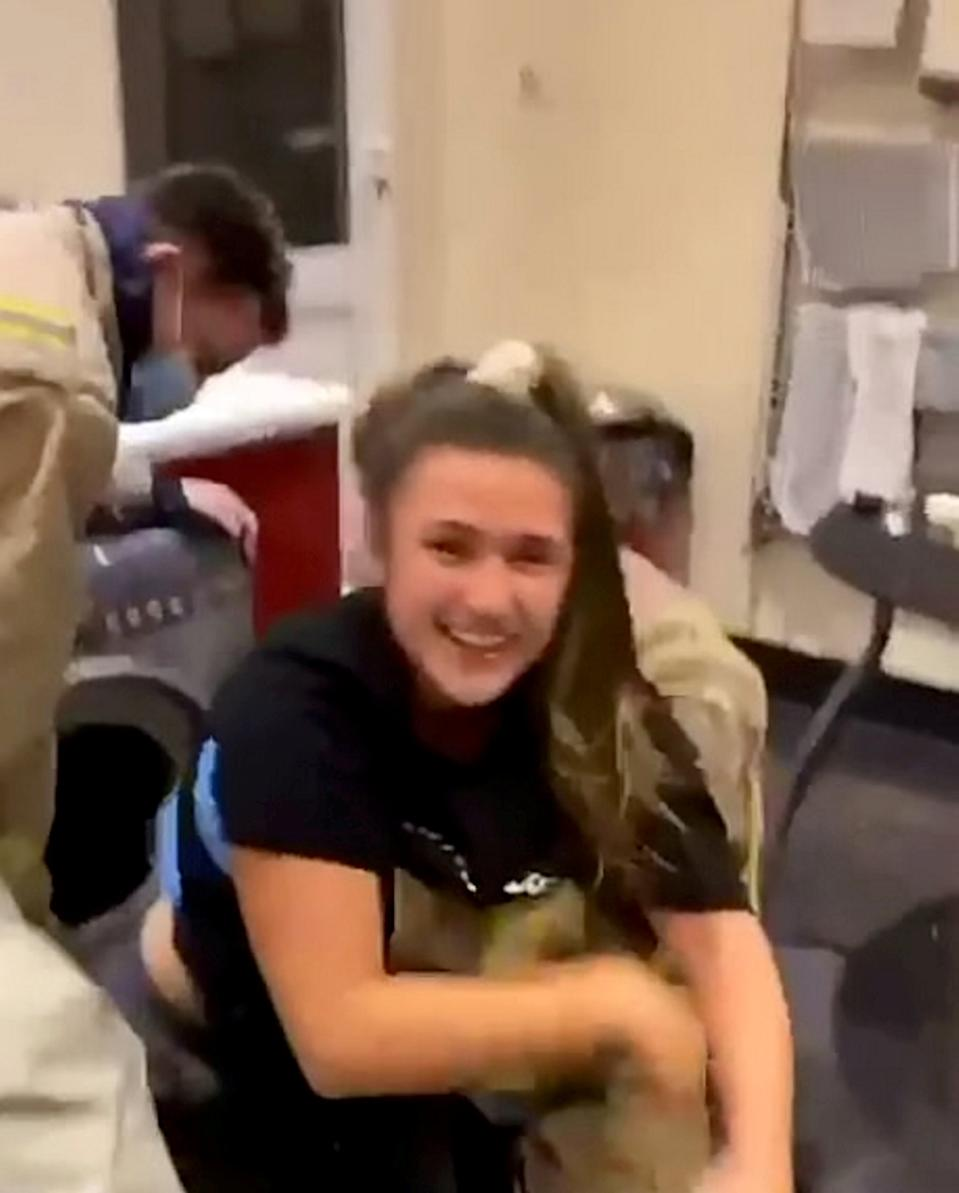 "This hilarious video shows the moment a student was rescued by firefighters - after she got stuck inside her TUMBLE DRYER. Rosie Cole, 21, had a few glasses to drink with her housemates when she was dared to get inside the dryer in their shared accommodation. She'd been enjoying a couple bottles of Zinfandel wine and honey tequila when their evening took a sudden turn. The drunken student thought there was ""no chance"" she'd fit, but after wiggling her way in she was suddenly stuck inside the dryer. Emergency services were called to the bizarre and hilarious scene at roughly 11pm as Rosie said they ""save cats from trees"" so maybe they would ""save students from tumble dryers""."