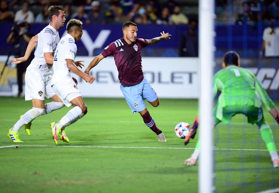 Colorado Rapids forward Andre Shinyashiki moves in for a shot on goal against the Los Angeles Galaxy at Dignity Health Sports Park on Tuesday night. Shinyashiki scored  a goal in the Rapids' 2-1 win.