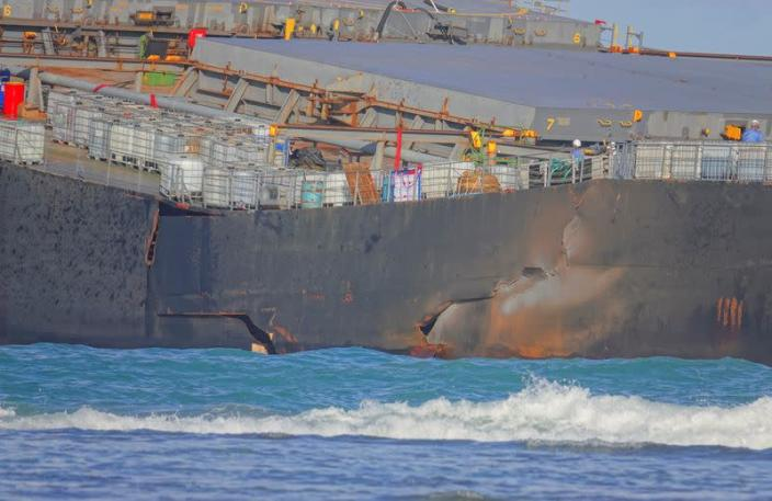 Oil from the bulk carrier ship MV Wakashio that ran aground on a reef, at Riviere des Creoles