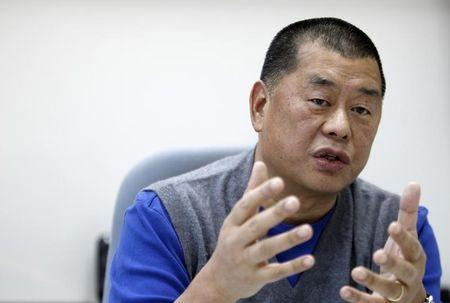 Lai, chairman and founder of Next Media, speaks during an exclusive interview with Reuters in Taipei