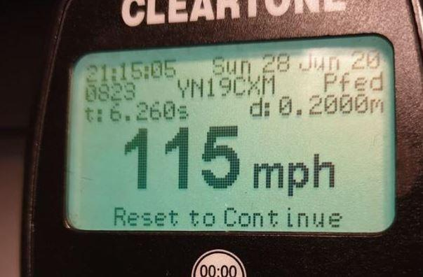 A driver was clocked doing 115mph on the M18 in South Yorkshire. (SWNS)