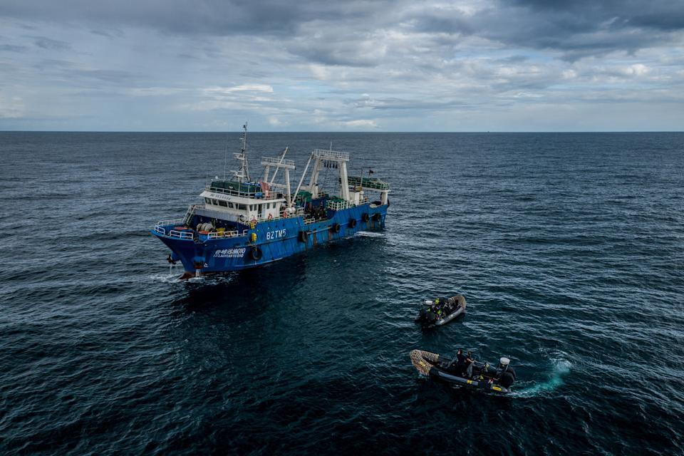 Sea Shepherd speedboats next to a Chinese fishing vessel in Gambian waters. (Fábio Nascimento / The Outlaw Ocean Project)