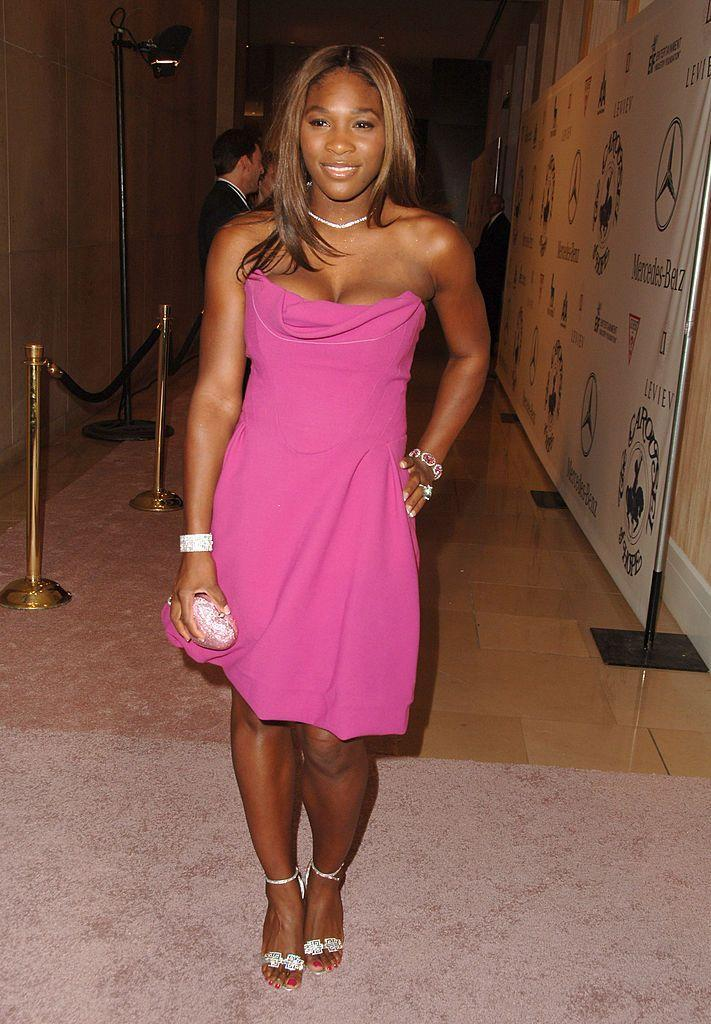 <p>Williams opted for a bold pink, corset-top mini dress for the event. </p>